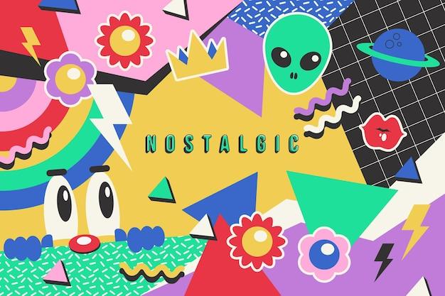 Diseño dibujado a mano fondo de los 90