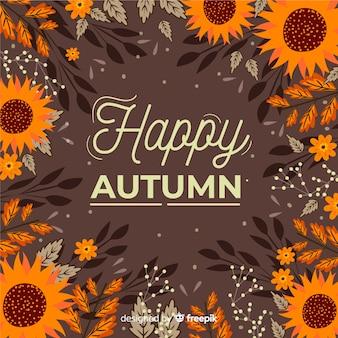Diseño dibujado a mano de fondo de hojas de otoño