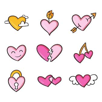 Diseño dibujado a mano formas de corazón de colores