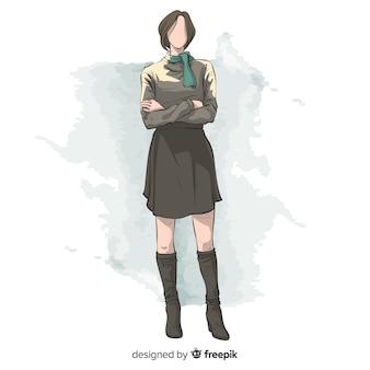 Diseño dibujado a mano de ilustración de moda