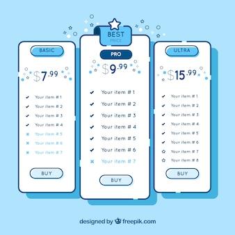 Diseño dibujado a mano de página de destino con tabla de precio