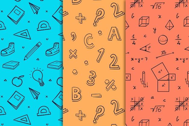 Diseño dibujado a mano patrones de regreso a la escuela