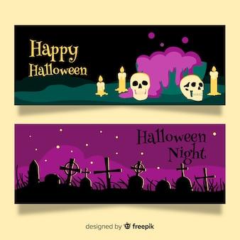 Diseño de dibujado a mano de plantilla de banner de halloween