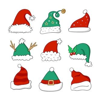 Diseño dibujado a mano rojo y verde invierno sombrero de santa