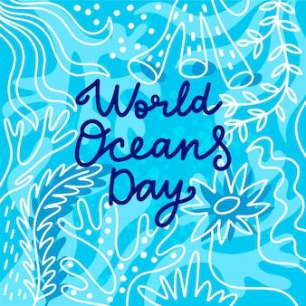 Diseño de dibujo del día mundial de los océanos