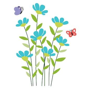 Diseño de dibujo de flores y mariposas