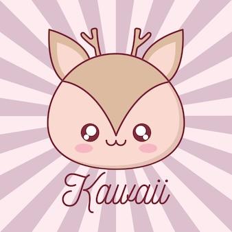 Diseño de dibujos animados de animales renos kawaii, expresión de personaje lindo divertido y tema de emoticonos