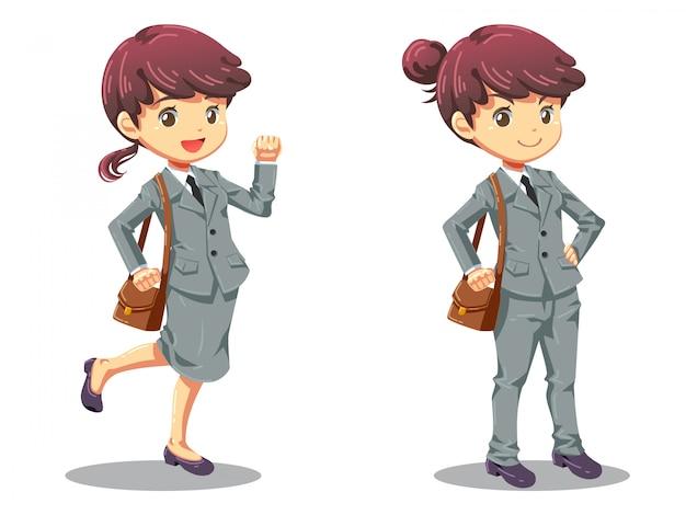 Diseño de dibujos animados de carácter de chica de oficina fuerte
