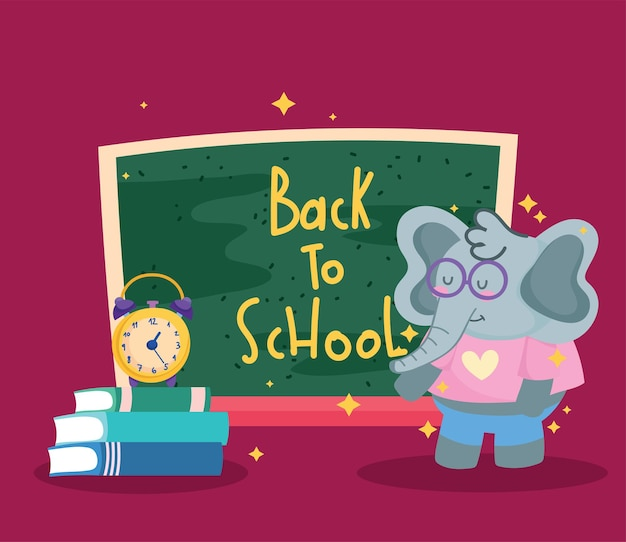 Diseño de dibujos animados e iconos de elefante de regreso a la escuela, clase de educación y tema de lección