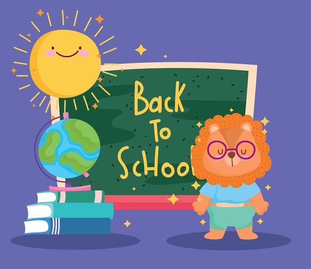 Diseño de dibujos animados e iconos de león de regreso a la escuela, clase de educación y tema de lección