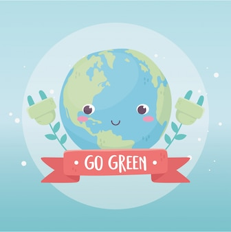 Diseño de dibujos animados de ecología de plantas de enchufe mundial