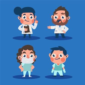 Diseño de dibujos animados del equipo profesional de salud