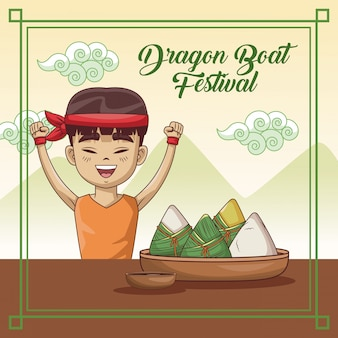 Diseño de dibujos animados festival de barco de dragón