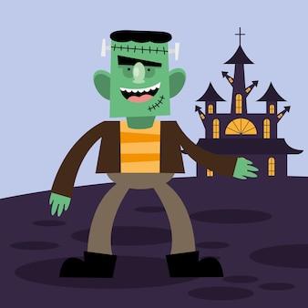 Diseño de dibujos animados de halloween frankenstein, tema aterrador