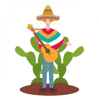 Diseño de dibujos animados de hombre mexicano, méxico cultura turismo hito latino y fiesta tema ilustración vectorial