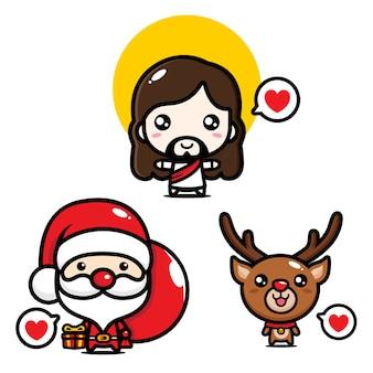 Diseño de dibujos animados de jesús, santa y ciervos