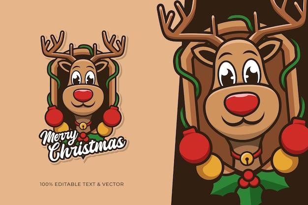 Diseño de dibujos animados lindo ciervo para el día de navidad con texto editable
