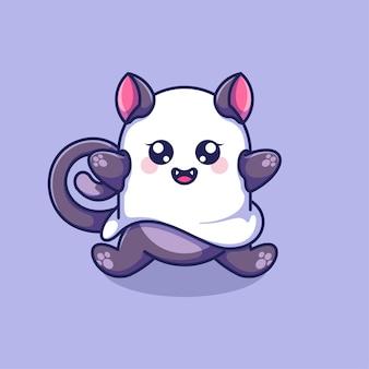 Diseño de dibujos animados lindo gato fantasma