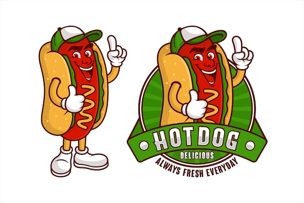 Diseño de dibujos animados de mascota deliciosa hot dog