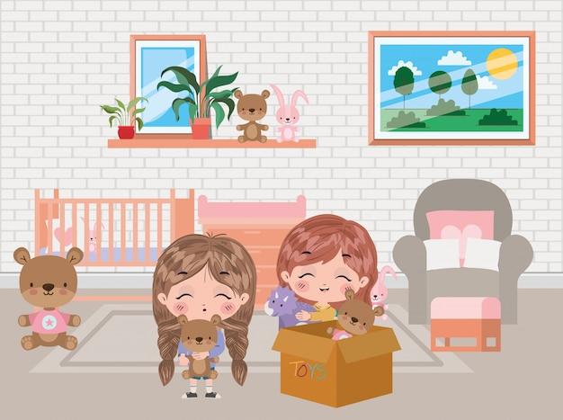Diseño de dibujos animados de niñas, amistad de niños infancia pequeña gente estilo de vida y persona tema ilustración vectorial