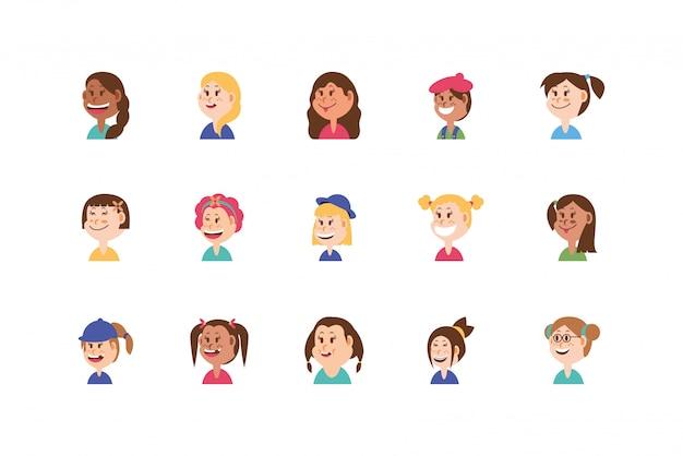 Diseño de dibujos animados de niñas conjunto aislado