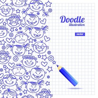 Diseño de dibujos animados de niños doodle