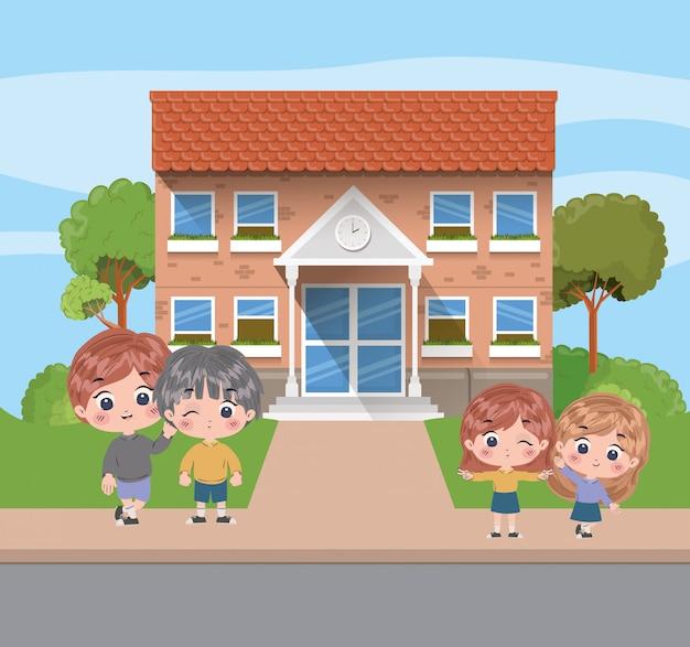 Diseño de dibujos animados para niños, estudio de lección de educación escolar, aprendizaje, información de aula y tema de conocimiento, ilustración vectorial