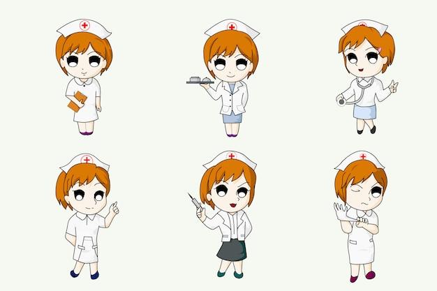 Diseño de dibujos animados de personaje de enfermera de estilo anime