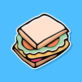 Diseño de dibujos animados sándwich dibujado a mano