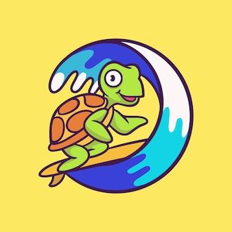 Diseño de dibujos animados de surf de tortuga aislado en amarillo