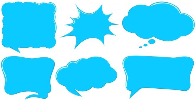 Diseño diferente de plantillas de burbujas de discurso en azul