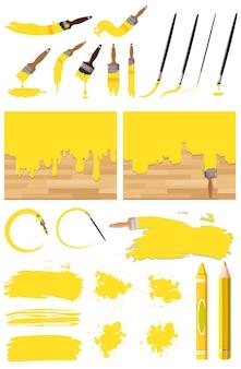 Diseño diferente de pintura de acuarela en amarillo sobre fondo blanco.