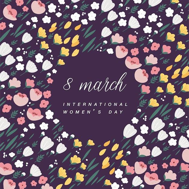 Diseño con diferentes flores para la tarjeta de felicitación del día de la mujer color colorido. 8 de marzo de fondo