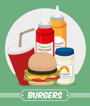 Diseño digital de hamburguesas.