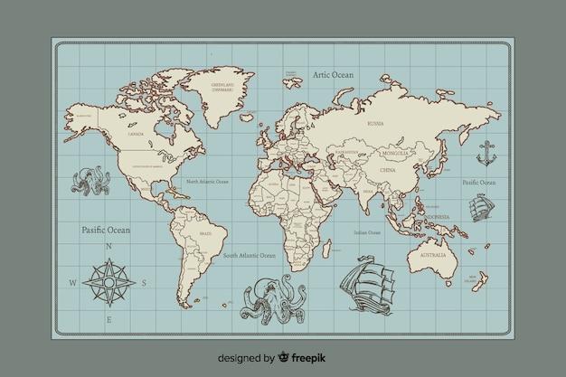 Diseño digital vintage del mapa mundial