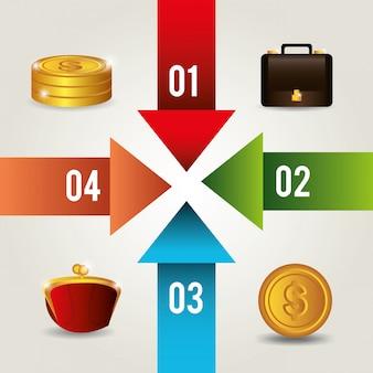 Diseño de dinero y negocios.