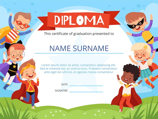 Diseño de diploma infantil con superhéroes infantiles alegres.