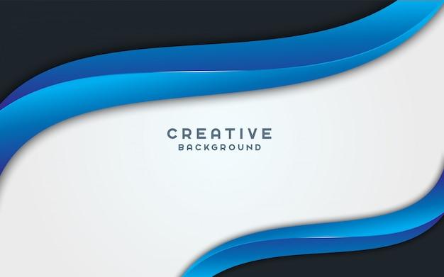 Diseño de diseño de banner de fondo ancho azul ondulado abstracto.
