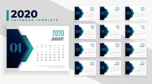 Diseño de diseño de calendario de año nuevo geométrico 2020 moderno