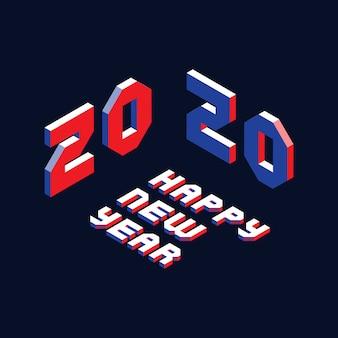 Diseño de diseño de feliz año nuevo 2020 con letras isométricas en estilo geométrico