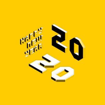 Diseño de diseño de feliz año nuevo 2020 con letras isométricas