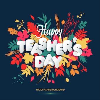 Diseño de diseño de happy teacher s day con letras de papel en volumen.