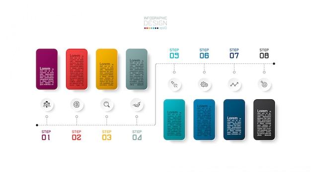Diseño de diseño infográfico de 8 pasos.