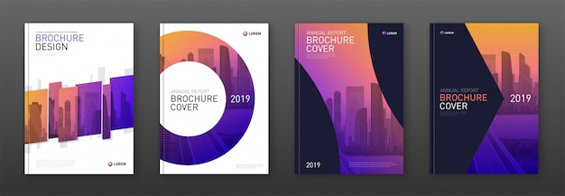 Diseño de diseño de portada de folleto establecido para negocios