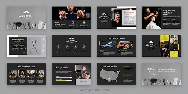 Diseño de diseño de presentación de peluquero con infografía