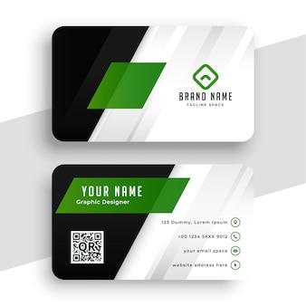 Diseño de diseño de tarjeta de visita verde elegante