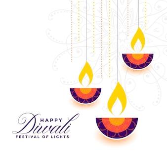 Diseño de diya decorativo colorido feliz diwali de estilo plano