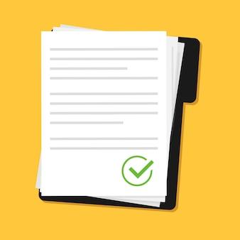 Diseño de documentos de contrato o documento de icono