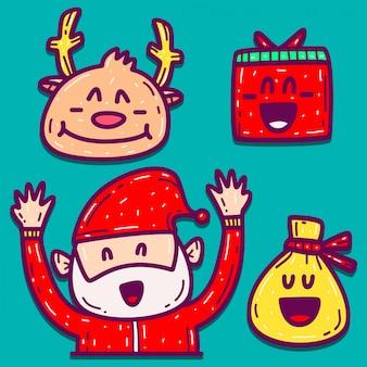 Diseño de doodle de dibujos animados dibujados a mano de navidad