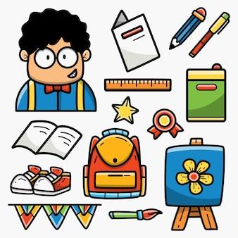 Diseño de doodle de dibujos animados de regreso a la escuela
